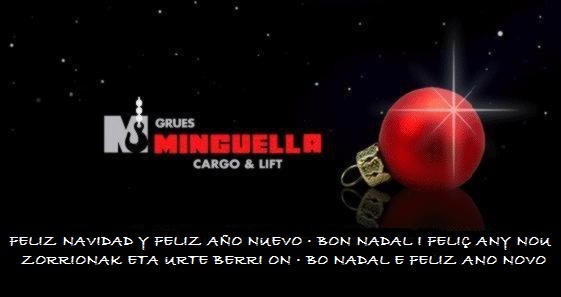 Grúas Minguella les desea Felices Fiestas y un Feliz Año Nuevo